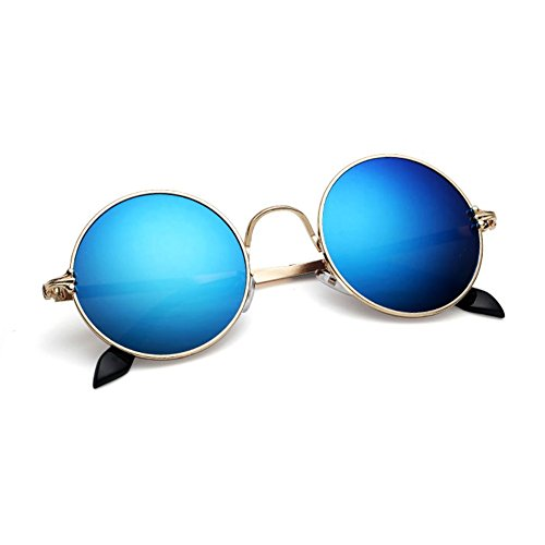 Anti Unisex 4 Redondo QY Reflejo De Sol UV Clásico Protección YQ Protección Marco Gafas 1 Retro Color Solar 76pqqHw