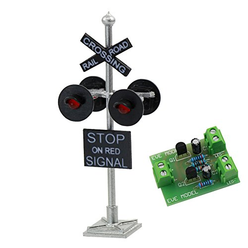 JTD876RP 1 Set HO Scale Railroad Train/Track Crossing Sign 4 Heads LED Made + Circuit Board Flasher-Flashing Red Train Signal Lights Decoration and Party - Model Train Crossing