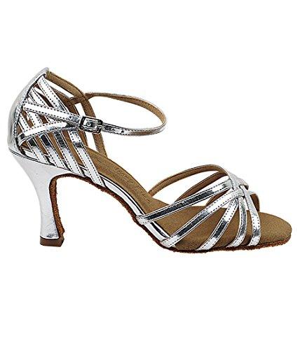 Chaussures De Danse Salsa Tango Latine Très Fine Pour Les Femmes Sera7032 Talon De 3 Pouces + Bundle De Brosse Pliable Argent