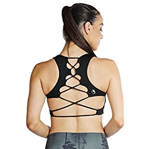 icyZone Women's Workout Yoga Clothes Activewear Printed Racerback Sports Bras (M, Black)