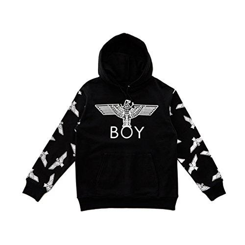 BOY London Unisex (S,M,L,XL) Eagle Patterned On Sleeves Hoodie - Black,White New_(BG3HD035) (Black, XLarge) by BOY London