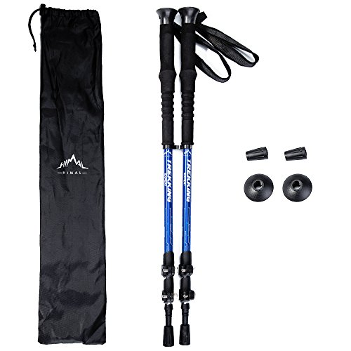Himal Outdoors 2 PCS Adjustable Travel Hiking Walking Stick Trekking Pole with EVA Foam Handle,Quick Adjust Flip-lock - Cork Grip, Padded Strap (Blue-Silver)