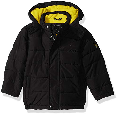 Nautica Baby Boys Signature Puffer Jacket with Storm Cuffs, Black, 18 Months