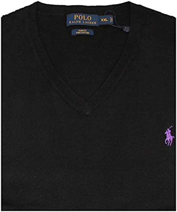 8ae413f5221a1d Polo Ralph Lauren Men Slim Fit Pima Cotton V Neck Long Sleeve Sweater, XXL  Polo Black