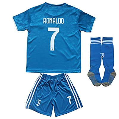 FCM 2019/2020 New #7 Cristiano Ronaldo Kids Third Soccer Jersey & Shorts Youth Sizes