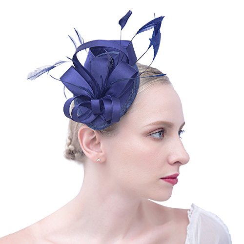 115fa915 Felizhouse Fascinator Hats for Women Ladies Feather Cocktail Party Hats  Bridal Headpieces Kentucky Derby Ascot Fascinator Headband (#1 Satin Navy  Blue): ...