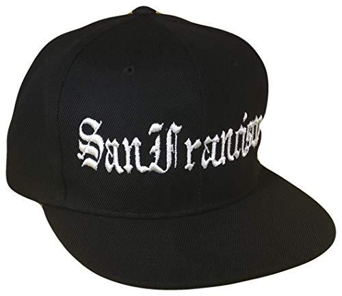 San Francisco Old English Flat Bill Snapback Flat Bill Cap (One Size, Black/White)