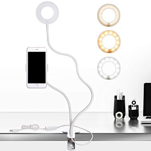 B-Land Cell Phone Holder with Selfie Ring Light for Live Stream, Flexible Mobile Phone Clip Holder Lazy Bracket Desk Lamp LED Light for Bedroom, Office, Kitchen, Bathroom (White)