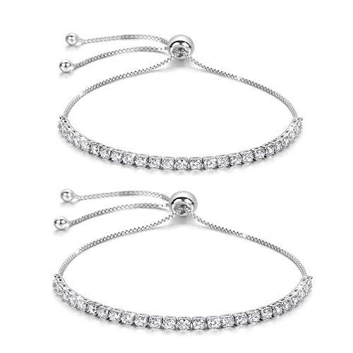 (J.Fée Women Bracelets 2 Pack Silver Bracelet Diamond Crystal Bracelet Adjustable Tennis Bracelet Shining Luxury Jewelry with Gift Box Silver Girl Zircon Bracelet Birthday for Friends Mom)