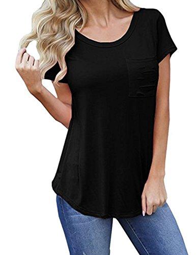 Sherosa Women Casual Crewneck Basic Solid T-Shirt Casual Short Sleeve Girl Tops Tee (L, (Girls Basic Scoop Neck Tee)