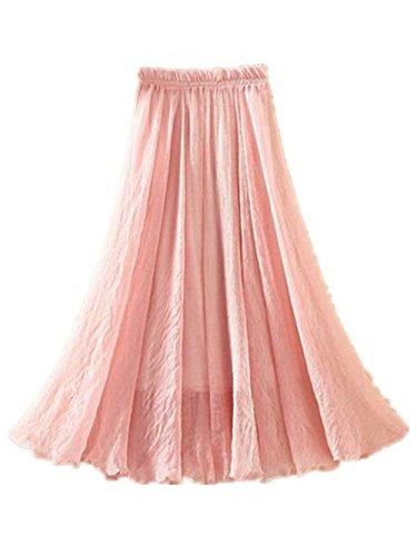 Aoliait Femme Jupe Longue ElGant Jupe Mousseline Couleur Unie Jupe A-Line Amincissante Femelle Jupe Plisse Taille Haute Jupe De Plage Swing Mode Jupe Pink