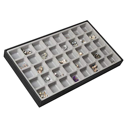 JackCubeDesign 40 Compartments Stackable Leather Jewelry Tray Earring Necklace Bracelet Ring Organizer Display Storage Box(Set of 1, Black, 16 x 9.6 x 1.6 inches)-MK212-1A