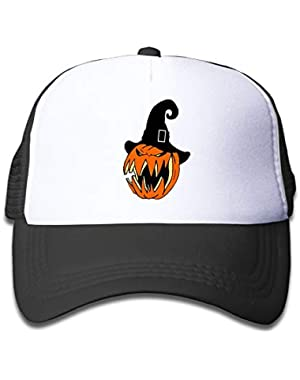 Pumpkin with Witch Hat4 On Children's Trucker Hat, Youth Toddler Mesh Hats Baseball Cap