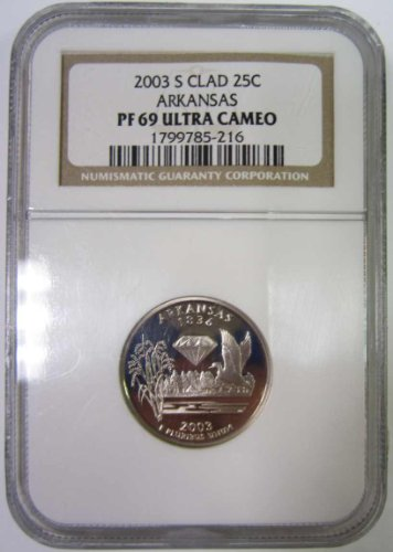 - 2003 S Proof Arkansas Statehood Quarter PF69 Graded by NGC