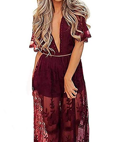 Wicky LS Women's Sexy Short Sleeve Long Dress Low V-Neck Lace Romper (M, Wine Red)