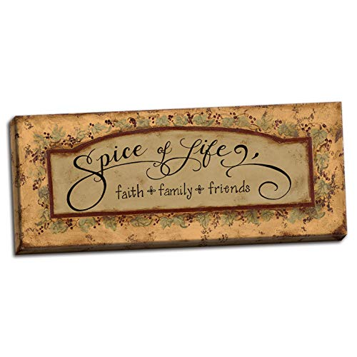 Gango Home Decor Spice Of Life; Faith, Family, Friends; One 20 x 8 Hand-Stretched Canvas