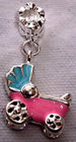Glamorise Beads #13661 Pink Blue Enamel New Baby Carriage Dangle Bead Gift for European Charm Bracelets