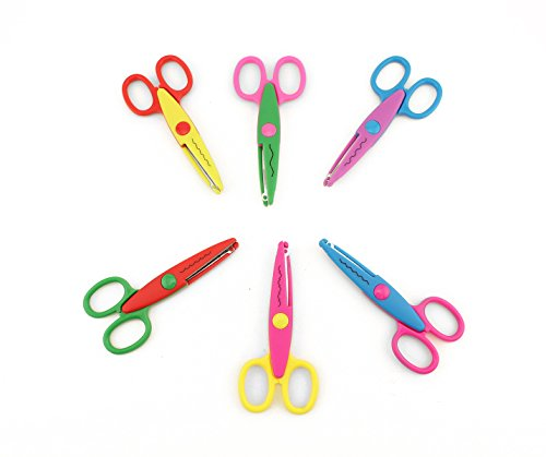 Tytroy 6pc Assorted Art Craft Safety Scissors Scrapbook Decorative Scissors Wave Edge