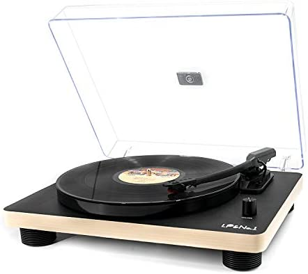 LP No.1 Retro Record Player Supporting Vinyl to MP3 Recording, 3-Speed Belt Drive Turntable with Built-in Stereo Speakers and RCA Output, Black