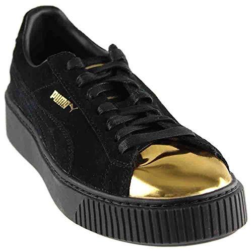 PUMA Women's Suede Platform Fashion Sneaker, Gold Black, 7.5 M US