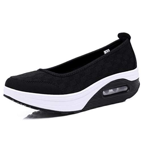 Talons infirmière Chaussures Casual épaisses Mocassins Confort Femmes Noir Chaussures Bas Maille Femme Femmes Respirant WwxqRRZ7U8