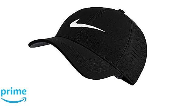 91f31daa917 Amazon.com  NIKE AeroBill Legacy 91 Perforated Golf Black Cap Velcro  Adjustable 856831-010  Sports Collectibles