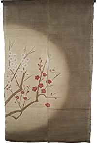 """NeoConcept Japan Noren Curtain Hand-woven Linen and Plate Printed Pattern Moon and Flower 59""""x33.45"""" (Brown)"""