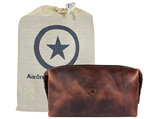 Leather Toiletry Bag for Men Grooming Travel Kit With Waterproof Lining By Aaron Leather Goods Walnut