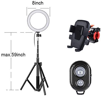 "8"" Selfie Ring Light with 56"" Tripod Stand, Cell Phone Holder for Live Stream/Makeup, Bluetooth Remote Control, LED Camera Ring light for YouTube Video/Photography Compatible with all iPhone & Android 41DkaJhUswL"