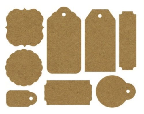 Kaisercraft Paper Tags and Shapes, 24 Per Package, Raw Kraft