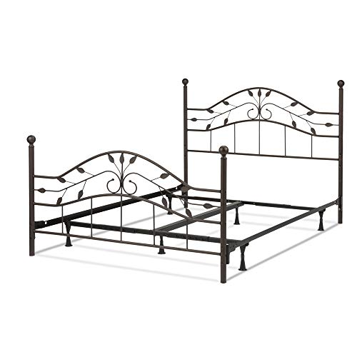 Hammered Steel Frame - Leggett & Platt Sycamore Complete Metal Bed and Steel Support Frame with Leaf Pattern Design and Round Final Posts, Hammered Copper Finish, Full