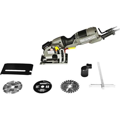 Rockwell Versacut 4.0 Amp Ultra-Compact Circular Saw with Laser Indicator and 3-Blade Kit with Carry...