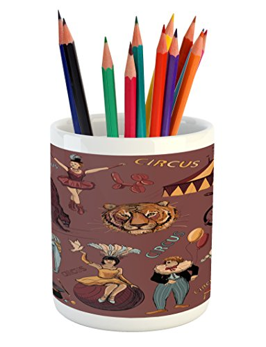 Lunarable Vintage Pencil Pen Holder, Retro Circus Print with Tent Tiger Head Balloons Dogs Art with Dark Coral Backdrop, Printed Ceramic Pencil Pen Holder for Desk Office Accessory, - Tent Tigers