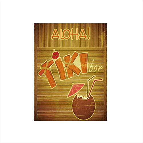 Ylljy00 Decorative Privacy Window Film/Wooden Planks Wall with Styled Tiki Bar Text Cocktail Hibiscus Aloha/No-Glue Self Static Cling for Home Bedroom Bathroom Kitchen Office Decor Brown Orange Pink