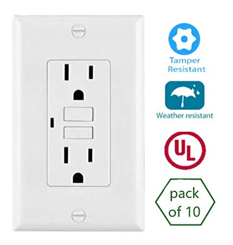 15 Amp Tamper Weather Resistant WTR GFCI LED outlet w/Wallplate UL2015 (Pack of 10) by Fitting Stores (Image #2)