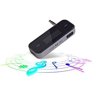 Bluetooth Car Kit FM Transmitter Audio Adapter Car Kit, Bluetooth in-Car FM Transmitter Mini AUX adapter with Built-in 3.5mm Aux Port for Car iPhone 6s 5 SE iPod iPad Smart Phones MP MP4 Audio Players