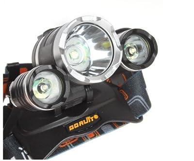 ETpower® 5000Lumen CREE XM-L XML 3 x T6 LED Headlight Light Headlamp Head Lamp Flashlight+ 2 x 18650 Battery + 1 x Charger For Outdoor Sports Like Cmaping Hiking Fishing