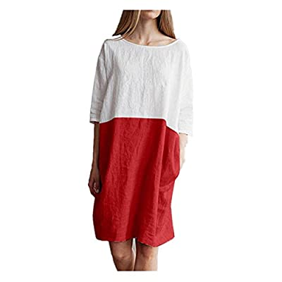 Summer Dress for Women Casual Patchwork 1/2 Sleeved Cotton Linen Loose Tunic Dress with Pockets