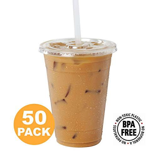 Clear Plastic Cups with Flat Slotted Lids for Iced Cold Drinks 16 Ounce, Disposable, Medium Size [50 Pack] by Fit Meal Prep