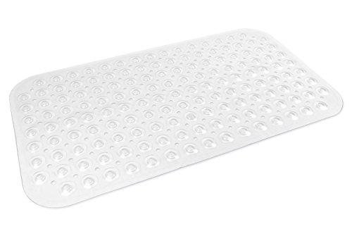 DII 15 by 27.5' Non Slip Transparent Safety Grip Suction Cup Vinyl Bath Tub Mat, Medium, Clear
