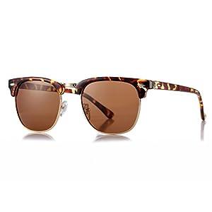 AZORB Polarized Semi-Rimless Clubmaster Sunglasses Horn Rimmed Unisex Design
