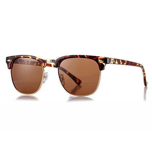 AZORB Polarized Semi-Rimless Clubmaster Sunglasses Horn Rimmed Unisex Design (Tortoise/Brown, - Polarized Clubmasters