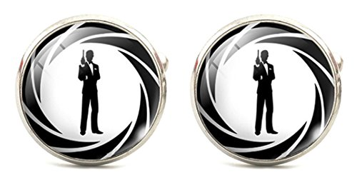 James Bond Classic 007 Logo Glass Domed Cufflinks