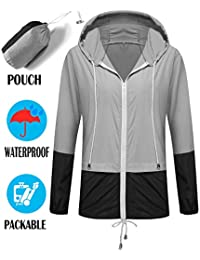 Rain Jacket Women Waterproof with Hood Lightweight in A Pouch for Hiking Travel