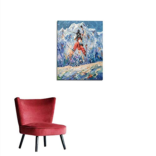 Photographic Wallpaper Freestyle A skier in flight against the backdrop of the snowy mountains of the ski resort of Rosa Khutor Painting oil canvas Decorative and textured techniques onmural ()