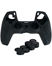 Soft Silicone Case Protective Skin Cover Wrap Case Joystick Rubber with Thumbsticks for Playstation 5 PS5 Controller (Black)