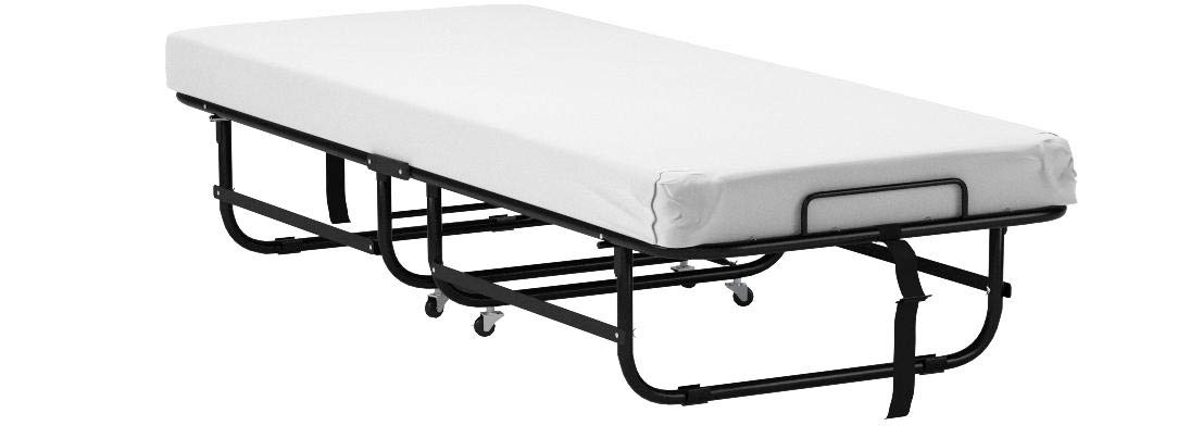 LUCID Rollaway Folding Guest Bed with 4 Inch Memory Foam Mattress - Rolling Cot - Easy Storage - Cot by LUCID (Image #8)