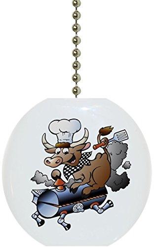 Carolina Hardware and Decor 1879F BBQ Barbeque Bull Solid Ceramic Fan Pull