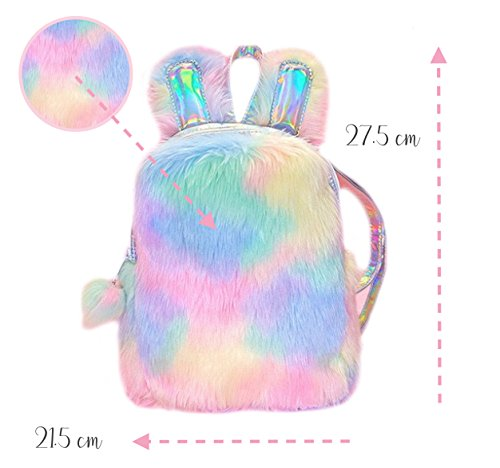 Unicorn Coloured Plush Backpack With Bunny Ears, Cute Gift For Girls and Woman in Rainbow Pastel - Pastel Cute