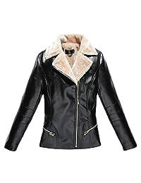 Gocgt Women's Winter Warm Oblique Zipper Faux Leather Fleece Moto Jacket Coat